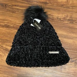 Bebe Black Knitted Beanie Hat